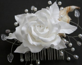 Wedding flower comb, Bridal hair comb, Bridal Hair flower, Bridal hair accessory, Bridal rose comb, Wedding comb, Bridal headpiece