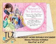 Disney Princess Invitation - MICROSOFT WORD Printable DIY Editable File