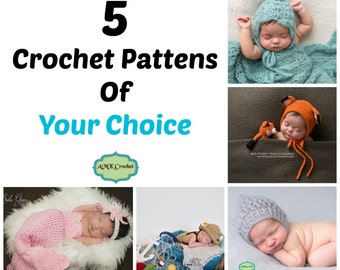 Buy Your Choice of Five Crochet Photo Prop Patterns Deal, Pick Any Five Photo Prop Crochet Patterns for a Discounted Price!