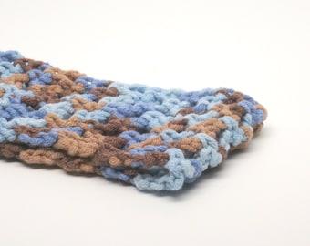 Stretchy Crochet Headband- Yoga Headband- Ear Warmer- Handmade- extra soft- blue and brown