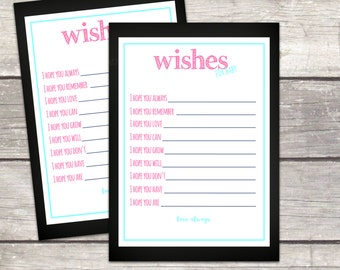 wishes for baby cards, baby shower printable games, instant download, chalkboard, teal and pink, printable files