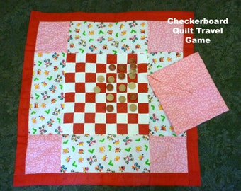 Checkerboard Quilt/Travel Game/Checkerboard Game Quilt/Toddler Quilt and Pillow/Checkers Game/Toddler Bed Quilt/Educational Game