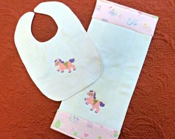 Burp Pad and Bib Set/Pink Pony Embroidered Bib and Diaper Burp Pad/Baby Shower Gift/Burp Cloth/Nursery Accessory/Infant Gift/Nursing pad