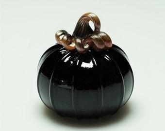 Hand blown Large Black Glass Pumpkin
