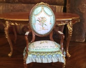 Dollhouse Chair - Hand painted. 1:12 Scale.