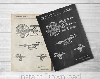 Starship Enterprise Patent Poster, Star Trek Poster, Geekery, Movie Room Decor, Movie Art, TV Poster, PP0056