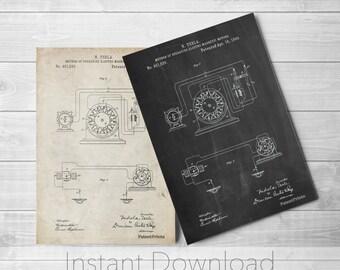 Tesla Electric Motors Printables, Science Art, Engineer Gift, Physics Poster, Tesla Patent, PP0264