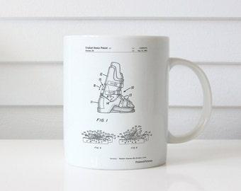 Ski Boots Patent Mug, Ski Mug, Mountain Home Decor, Winter Decor, Snow Ski Decor, Sports Mug, PP1037