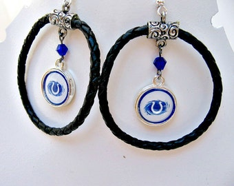 Indianapolis Colts Leather Earrings, Indianapolis Colts Jewelry, Colts Accessories, Football Jewelry, Colts Fan Wear, Football Mom, Colts