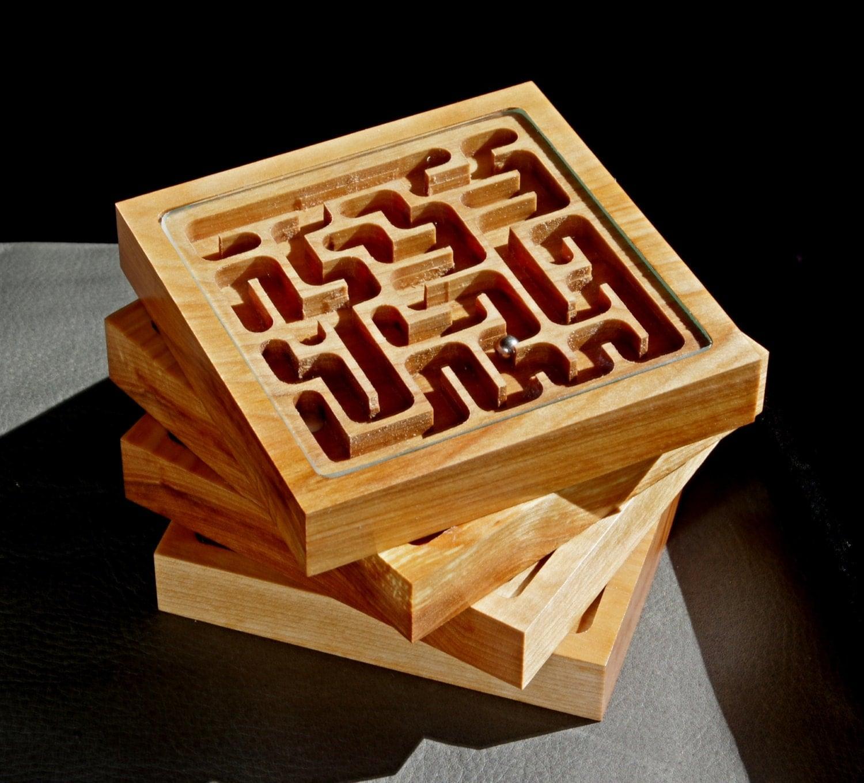 Mini Marble Maze Wooden Coasters