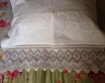 Antique Pillowcases, Antique Bed Linen, Hand Embroidery, Hand Crochet Lace, Set of 2, VBL1