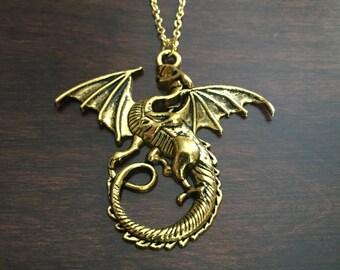 dragon, dragon necklace, dragon jewelry, gold dragon, gold dragon necklace, dragon pendant, dragons, jewellery, gold necklace, necklace