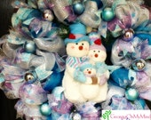 XXL Snowman Blue and Purple Deco Mesh Wreath Christmas Holiday Winter