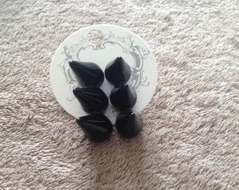 Black Plastic Punk Studs Earrings