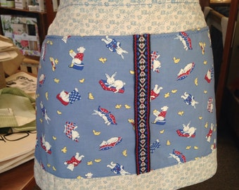 Blue Bunnies and Bears Children's Apron