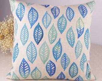 "Geometry Blue Green Leaves Cotton Linen Pillow/Pillow Cover/Pillow Shell/Pillow Case 18"" x 18"" One Piece"