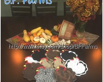 Mix & Match - Set of 2 - 100% Cotton Crocheted Chicken Potholders