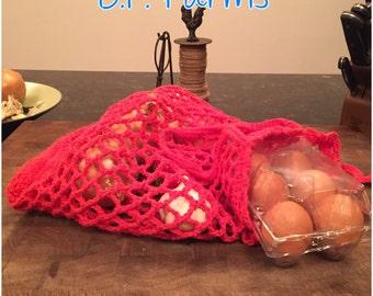 100% Cotton Crocheted Market Bag - Cayenne