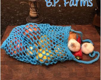 100% Cotton Crocheted Market Bag - Hot Blue