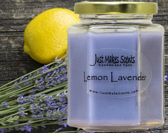 Lemon Lavender Scented Soy Candle - Free Shipping on Orders of 6 or More - Yankee Candle Type - Homemade Lemon Lavender Candle