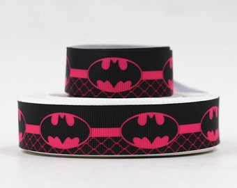 "7/8"" wide 3 yards Batgirl ribbon/ Party favor/ decoration/ batman/pink bubbles/ dots"