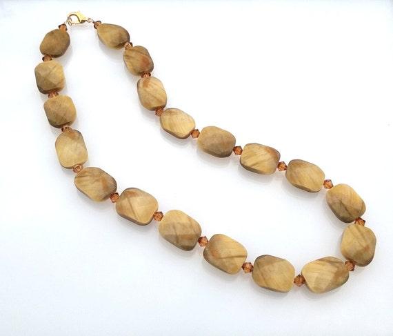Golden Tiger Eye and Swarovski Crystal Necklace