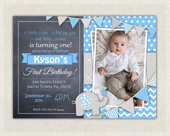 Elephant boys blue grey 1st birthday invitation download first il570xn filmwisefo