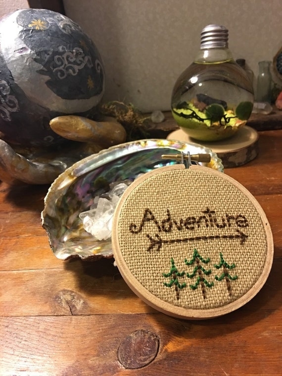 Adventure Embroidery Hoop Art Handmade Embroidery Hanging Art Wall Art Home Decor Hand Embroidered Hand Stitched
