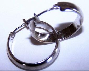Vintage Polished Steel Hoop Earrings