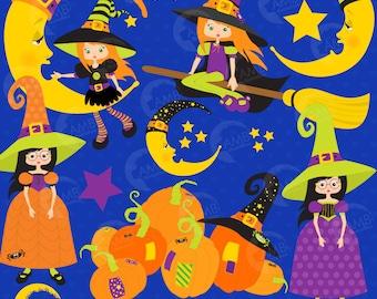 Halloween clipart, Witch clipart, Halloween clipart, Pumpkin clipart, Witches on broom clipart, commercialuse, AMB-216