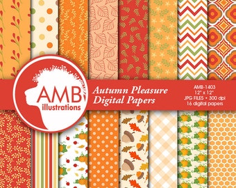 Autumn Digital Papers, Autumn Leaves Paper, Harvest Backgrounds, Pumpkin papers, Fall digital papers, Commercial Use,  AMB-1403