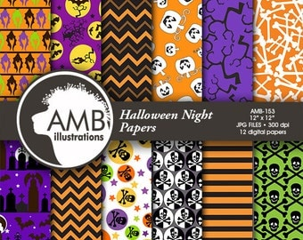 Halloween Digital papers, Pumpkin Papers, Halloween backgrounds, Bats and Cemetery patterns, Commercial Use, AMB-153