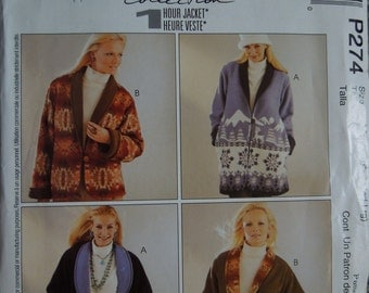 McCalls P274, sizes small-large, misses, womens, petite, reversible jacket, UNCUT sewing pattern, craft supplies