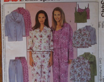 McCalls 3445, sizes large, xlarge, petite, misses, womens, teens, UNCUT sewing pattern, craft supplies, pajamas, camisole, top, pants