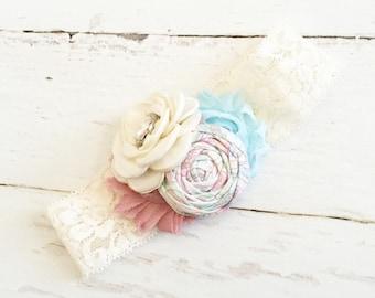 Ivory dusty rose light blue headband // satin rosette headband // baby girl headband