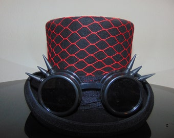 Steampunk Fishnet Goggles Top Hat