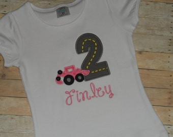 Baby Toddler Girls custom applique construction road birthday shirt 12 18 24 months 2t 3t 4t 5t