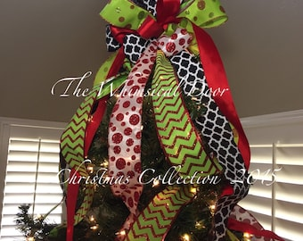 Christmas Tree Bow Tree Topper Bow Whimsical Bow Tree Topper