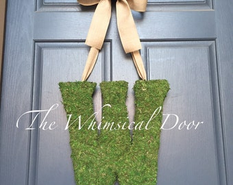 Moss Wrapped Monogram Moss Monogram Wreath Moss Wreath Moss Door Hanger Wedding Monogram Rustic Wedding