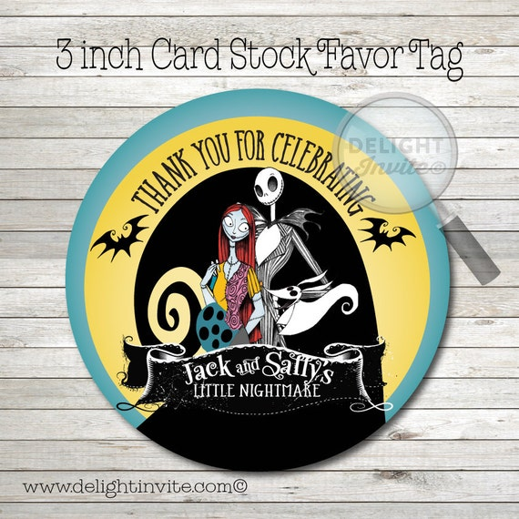 nightmare before christmas baby shower favor tags by delightinvite