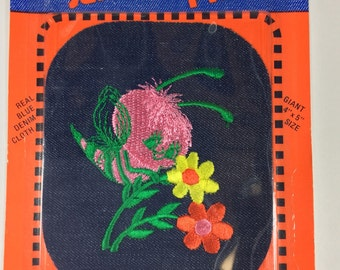 Vintage 70's Blue Jean Fabric Large Patch Bumblebee Flower