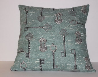 """Pillow Cover with Key Print - Green • White • Black • Grey - 16"""""""