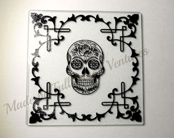 Glass Alter dish / offering plate / cutting board ,Rose sugar skull square glass  8 x 8 in. great gift gothic
