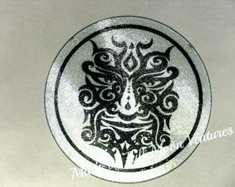 "Tribal Green Man Alter  plate / cutting board , offering dish , , 8 inch glass - ""The green Man"" pagan gift"
