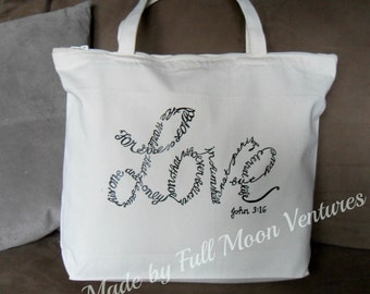 "Canvas bag / Tote with zipper top with ""John 3:16 "" verse in vinyl and  measures 18 x 14 x 4 laptop bag , yoga bag school bag christmas gift"