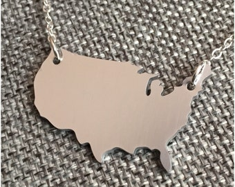 US Map Necklace - Silver and Aluminum United States Necklace - Patriotic Necklace - Country Necklace - Red White and Blue Jewelry - US Charm