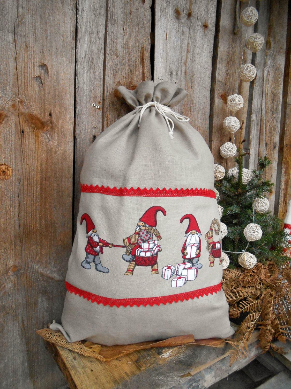 Large christmas gift bag personalized sack scandinavian
