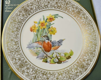Vintage Lenox Boehm Bird Robin Collectible Plate Annual Limited Edition USA PanchosPorch