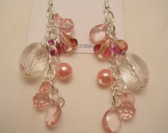 Beautiful Colorful Pink Crystal Dangle Earrings #172