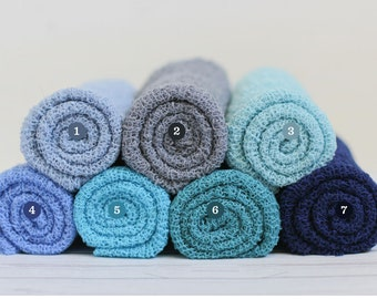 Baby Boy Newborn Stretch Wraps IN STOCK and Ready to Ship Super Stretch Knit Soft Swaddle Photography Prop By Bonbons Newborn Baby Boy Blue